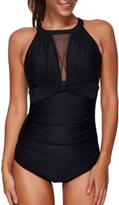 Black Ruched One Piece Swimsuits