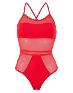 Mesh Panel One Piece Swimsuits
