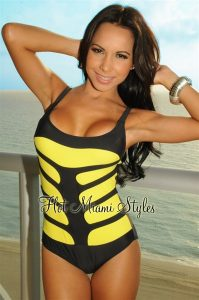 Neon Yellow One Piece Swimsuits