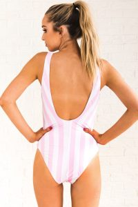 Vertical Striped One Piece Swimsuits