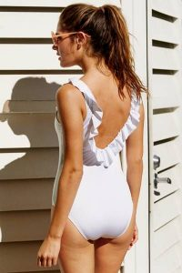 White Ruffle One Piece Swimsuits