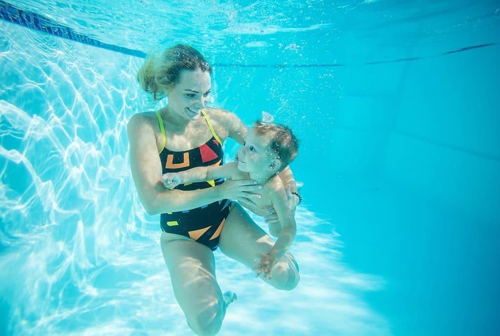 baby mom swimming